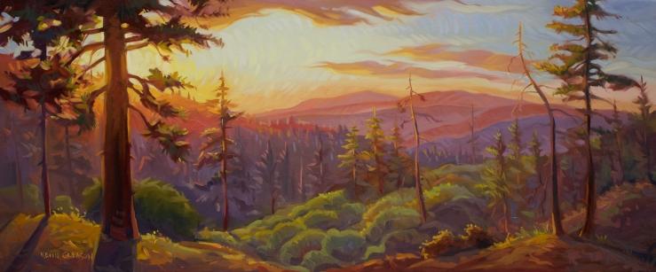 "Radiant Sunset, Big Pine Camp --16x36"""