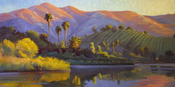 First Touch of Light--Lake Los Carneros 18x36""