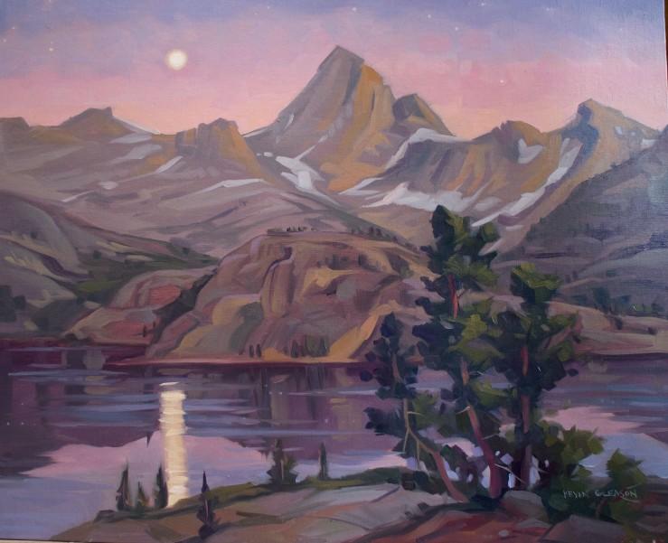 """Full Moonrise- Evolution Lake-- 16x20"""""""